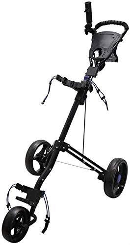 LBWARMB Carrito de Golf Ajustable Carro de Golf for Jugadores de Golf Junior de 3 Ruedas Golf Push Cart con Freno de un Segundo for Abrir y Cerrar Plegable Carro de Golf (Color : Black)