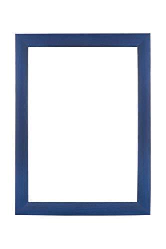 EUROLine35 cornice su misura per le immagini 92 cm x 120 cm, colore: Blu Scuro Sfocato, cornice in legno MDF realizzata su misura, completa di vetro acrilico antiriflesso e pannello posteriore in MDF, larghezza cornice: 35 mm, misure esterne: 97,8 cm x 125,8 cm