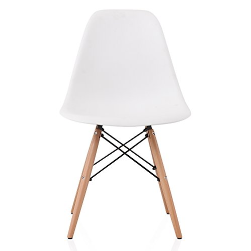 CozyBlock DSW Slope White Molded Plastic Dining Side Chair with Beech Wood Eiffel Legs