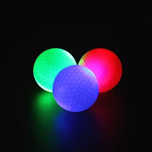 ILYSPORT LED Light up Golf Balls, Glow in The Dark Night Glow Golf Balls (Mixed 3 Colors)