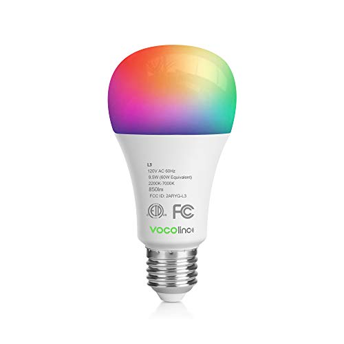 VOCOlinc HomeKit WLAN Lampe LED Smart Glühbirne E27 60W RGBW Kompatible mit Alexa Google Assistant, Hub Unbenötigt APP-dimmbar Zeitplan Festlegen A67 2200-7000K