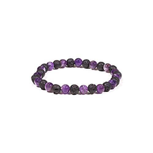 Find Something Different Pulsera elástica de piedras preciosas con amatista y...
