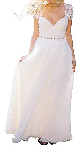 YASIOU Hochzeitskleider Damen Lang Schlicht Weiß Tüll Spitze Tückenfrei A Linie Chiffon Glitzer Gürtel Brautkleid Hochzeitskleid mit ärmel