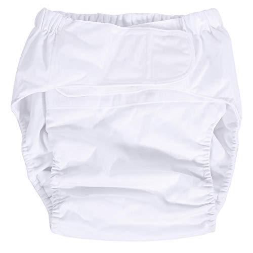 Alupre Neu Waschbar Incontinent Pflege Erwachsener Hose Ultra saugfähige Einstellbare Tuch-Windel-Windel (weiß)