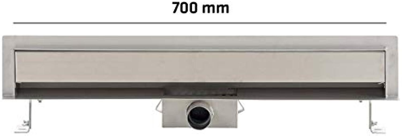 CLP Edelstahl Wand-Duschablauf ZITAHLI I Duschrinne aus Edelstahl für Wandmontage I Ablaufrinne mit Siphon I Gren von 400-1000 mm Edelstahl, 700 mm