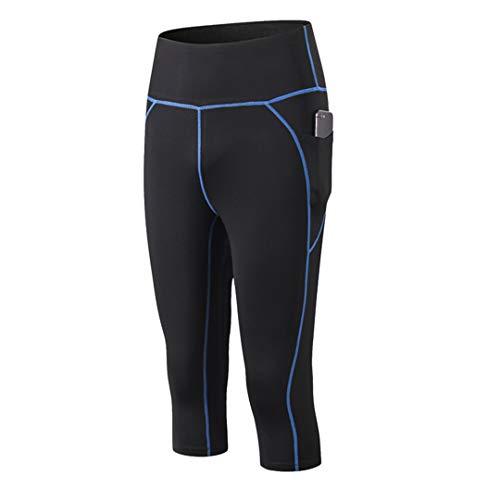 TN-KENSLY Capri la Mujer Cintura Alta compresión Polainas Pantalones Mujeres Mallas para Correr la formación Mujeres Polainas apretadas Black-Blue Line EUR XL