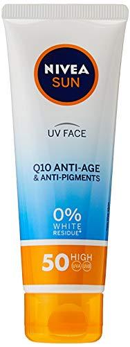 NIVEA UV Gesicht LSF50 Q10 Anti-Age & Anti-Pigment 0% Weiße Rückstände (50ml), Q10 Gesicht Sonnencreme, UV Gesichtscreme Anti Aging Creme mit LSF50