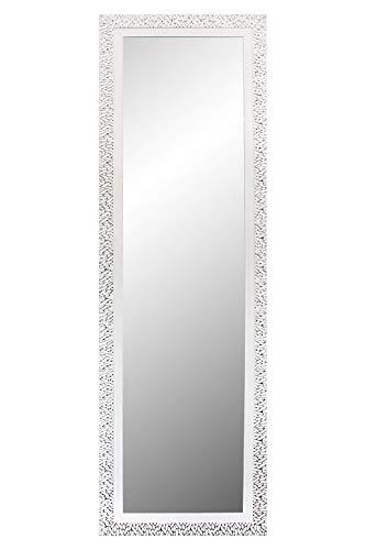 Chely Intermarket, Espejo de Pared Cuerpo Entero 35X140 cm(51,50x157)/Blanco-Plateado/Mod-157, Ideal para peluquerías, salón, Comedor, Dormitorio y oficinas. Fabricado en España. Material Madera.