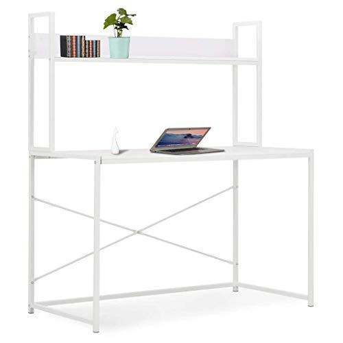vidaXL Biurko komputerowe z półką dom biuro laptop komputer narożnik gabinet stół do pisania biurko biurko biurko biurko biurko biurko biurko biurko meble biały 120 x 60 x 138 cm