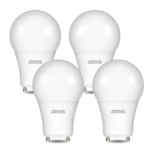 GU24 Light Bulb,GU24 LED Bulb 9W Equivalent 60W,Comzler GU24 Base Twist in Light Bulb Daylight 5000K 900 Lumens,A19 CFL Replacement,Non-dimmableBulb for Ceiling Fan 4 Pack