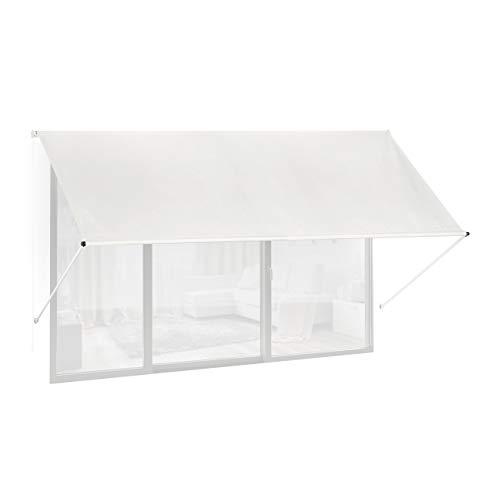 Relaxdays Fallarmmarkise HxB: 120x300 cm, Schattenspender für Fenster, 50+ UV-Schutz, Seilzug, Polyester & Metall, beige
