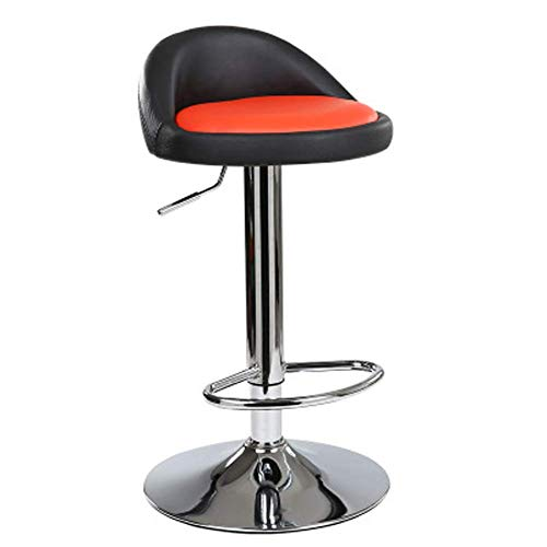 FLL Color Matching Bar Stool, Simple 360° Swivel Height Lift Adjustable, Synthetic Leather Metal Foot,Suitable for Bar Counter Gaming Room Party,black+red