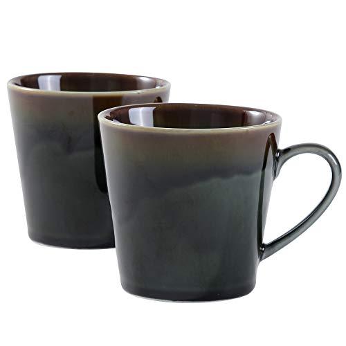 terrace&dragon® Keramik-Kaffeetassen Tasse Becher Porzellantassen für Tee, Cappuccino, Kakao, 340 ml, 2 Stück (Waldgrün)
