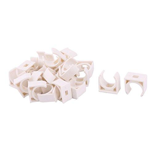sourcingmap 25Stk Rohrschelle Haus PVC U Form Wasser Verwenden Rohr Halter Ständer Klemme weiß 20mm Dmr.