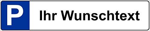 Schild – Wunsch-text - Kfz Kennzeichen Nummern-schild Parkplatz-schild Park-schild – 52x11cm mit Bohrlöchern | stabile 3mm starke Aluminiumverbundplatte – S00019A +++ in 5 Varianten erhältlich