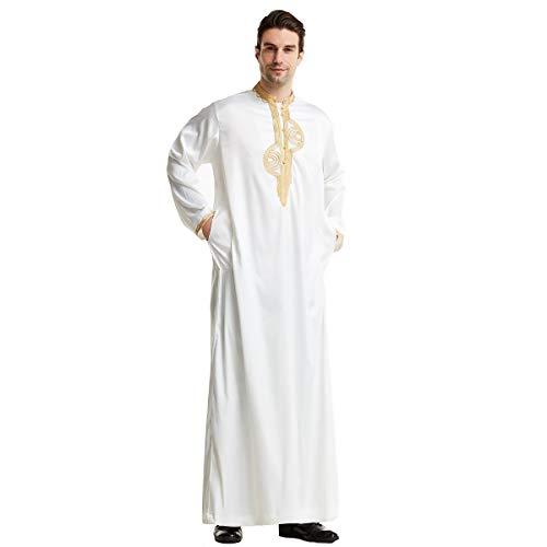 MINASAN Männer Muslimische Kleider Kaftan - Islamische Kleidung Herren Islamische Kostüm V-Ausschnitt Arab Nachtwäsche Mit Taschen Indian Muslim Herrenhemd Lange Bademäntel Morgenmäntel (Weiß, XXL)