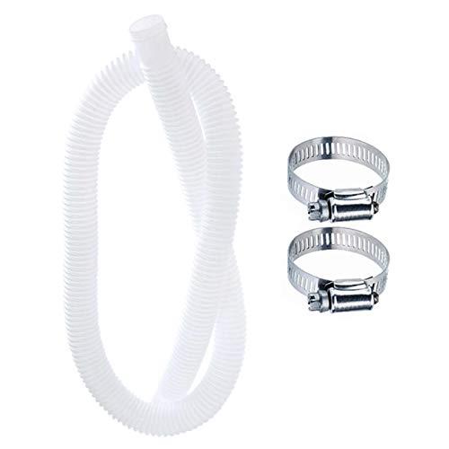 Primlisa Manguera de repuesto para bomba de piscina a prueba de fugas, accesorios y pantalones, para bomba de filtro y sistemas de agua salada, color blanco