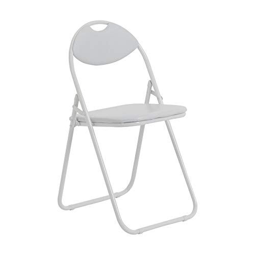 Harbour Housewares White Padded, Folding, Desk Chair/White Frame - Pack of 1