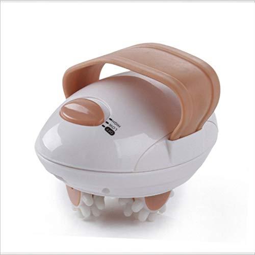 HehiFRlark - Mini rodillo de masaje para amasar el cuerpo del rostro 3D portátil eléctrico anticelulítico blanco y café