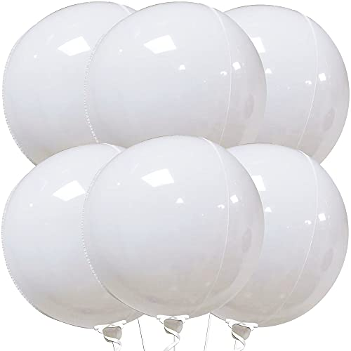 Big Pastel White Foil Balloons - Pack Of 6   Large 22 Inch 360 Degree 4D Metallic Round Sphere White Balloons   Mirror Finish White Mylar Balloons for Birthday, Baby Shower, Bachelorette Party Décor