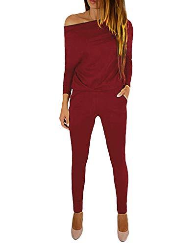 YOINS Jumpsuit Damen Elegant Langarmshirt Damen Overall Off Shoulder Strand Romper Lang Einfarbig A-weinrot XXL