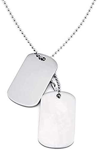 Stainless Steel Plain Silver Army Dual Dog Tag Pendant Necklace for Men and Boys Silver