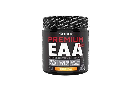 WEIDER Premium EAA Zero – Alle 9 essentiellen Aminosäuren mit hohem BCAA Gehalt. Hochdosiert mit über 10 g EAAs pro Portion. 325 g Pulver (25 Portionen) – Tropical Geschmack