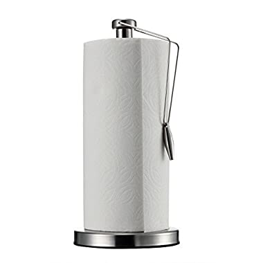 Paper Towel Holder AmazeFan Vertical Design for Extra Large Roll up to 11.2 inches tall(Silver) … (Stainless)