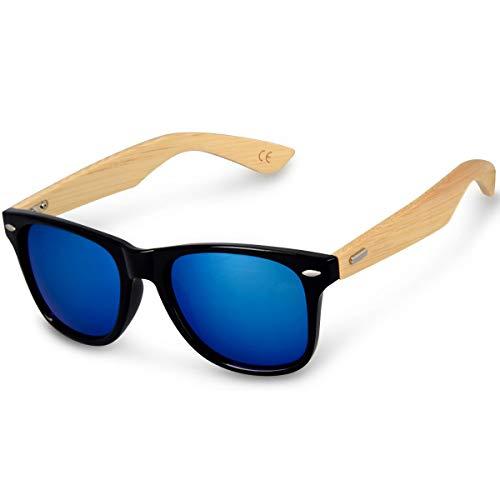 DL-forever Gafas de sol UV400 - Gafas de madera para hombre y mujer - Gafas de sol con patillas de madera en diferentes colores (Negro-azul)