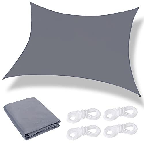 KIKILIVE Voile d'ombrage Rectangulaire, Voile Ombrage 3 X 3m Imperméable, Protection UV avec Coupe-Vent Respirant, Toile pour Pergola Terrasse Balcon Jardin Extérieur