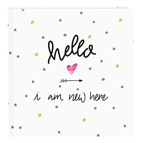 goldbuch 27319 Baby Fotoalbum Hello I am New here, 30 x 31 cm, Babyalbum mit 60 Seiten, Pergamin-Trennblätter, Foto Album mit Kunstdruck, Fotobuch Weiß / Gold