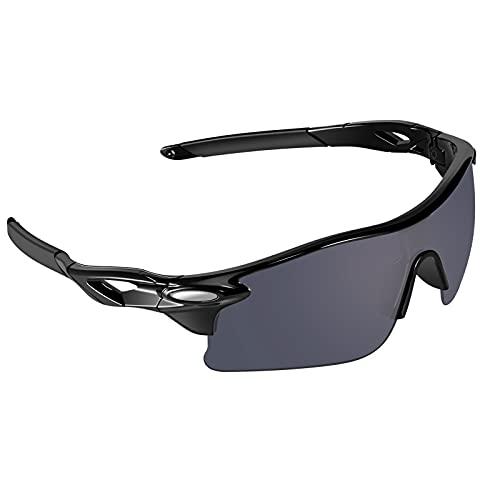 VABNEER Gafas Ciclismo Gafas de Sol Deportivas Gafas de Sol para Hombre y Mujer Gafas de Montar al Aire Libre (Negro)