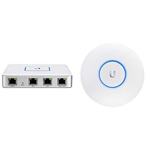 Ubiquiti USG Netzwerk/Router ( 3 Gigabit-Ethernet-Ports, UniFi-Controller) & Networks Indoor 2.4/5GHz 867Mbit 183m 24V passive PoE, UAP-AC-LR (24V passive PoE 175.7 x 43.2 mm Indoor)