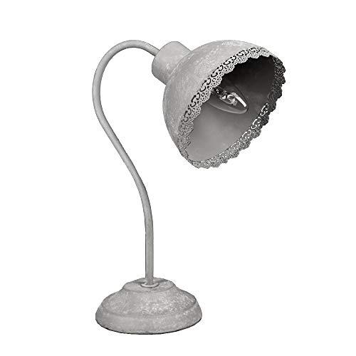 Schreibtischlampe CLAUDINE grau Metall shabby chic Landhaus Lampe Tischlampe E14