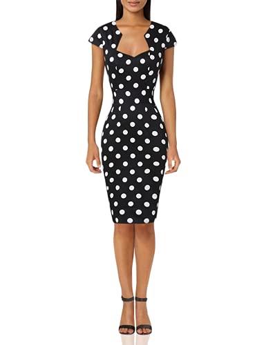 Cap Sleeve Vintage 50's Dresses for Women Cocktail Party Black L
