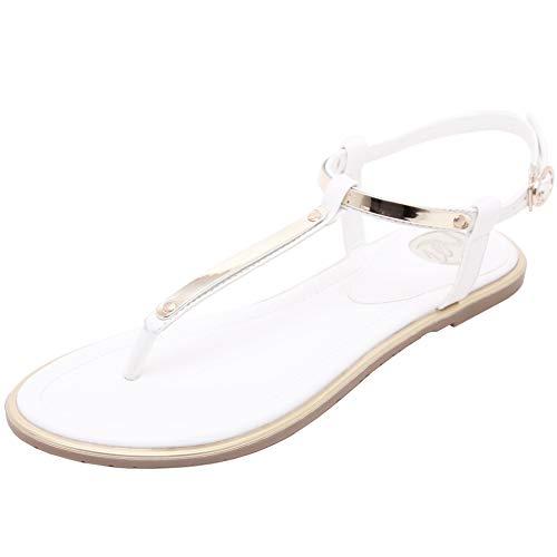 Damen Roman Zehentrenner Sandalen mit Mode Bling Metall Dekoration Sommer Strand Schuhe Flip Flop T-Strap Thong,EU38,Weiß