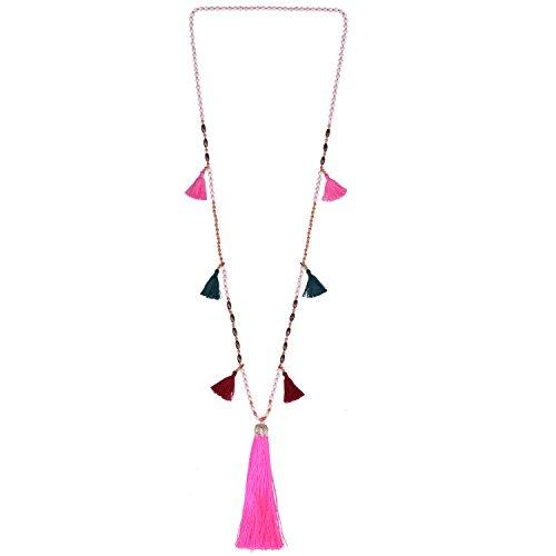 KELITCH Perlen Halskette Kette Mehrfarbig Quaste Lang Sandstrand Freundschaft Halskette (Rosa E)