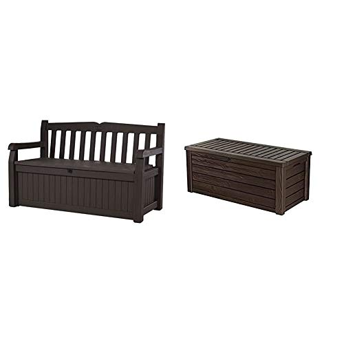 Keter Eden 70 Gallon Storage Bench Deck Box for Patio Furniture, Front Porch Decor and Outdoor Seating,Brown/Brown & Westwood 150 Gallon Resin Large Deck Box-Organization and Storage, Brown