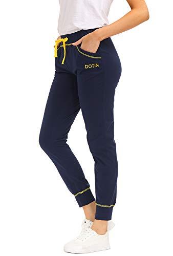 DOTIN Damen Jogginghose Sporthose Baumwolle Lange Freizeithose High Waist Traininghose Fitness Sweathose für Frauen Jogging Sport Laufhose