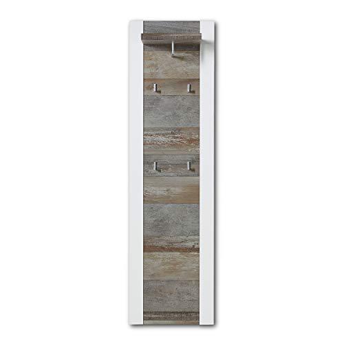 MATEO Schmale Garderobenleiste in Weiß mit Driftwood Optik - Moderne Hutablage & zuverlässige Wandhaken für Jacken & Taschen - 48 x 170 x 29 cm (B/H/T)