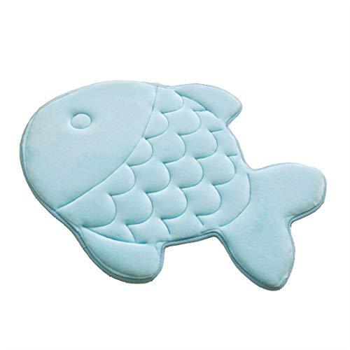 HAPLOVE Slow Rebound Memory Foam Children Bath Rug Fish Slip Resistant Coral Fleece Mat Doormat Carpet Children Home Christmas Birthday Gift 15 x 47 inch-(Blue)