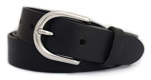 GREEN YARD Ledergürtel schmal Gürtel aus 100% weichem Leder für Damen & Herren Damengürtel 3cm breit,Black - Schwarz,90 cm Bundweite = 105 cm Gesamtlänge