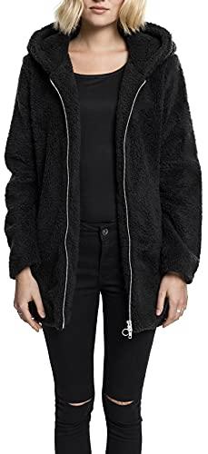 Urban Classics Damen Ladies Sherpa Jacket Kapuzenpullover, Black, M