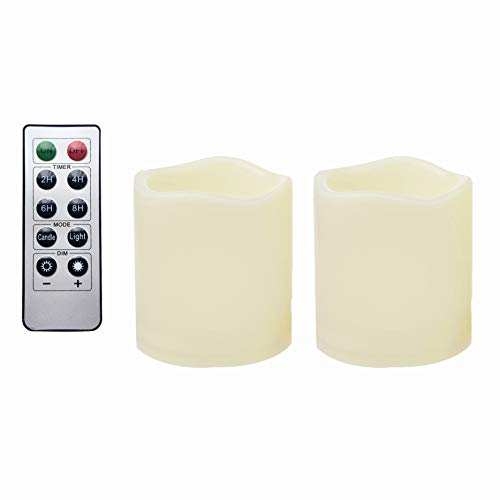 2 Waterproof Outdoor Battery Operated Flameless LED Pillar Candles with Remote Flickering Plastic Electric Decorative Light Set for Home Décor Garden Patio Decoration Party Wedding Supplies 3x3 Inches