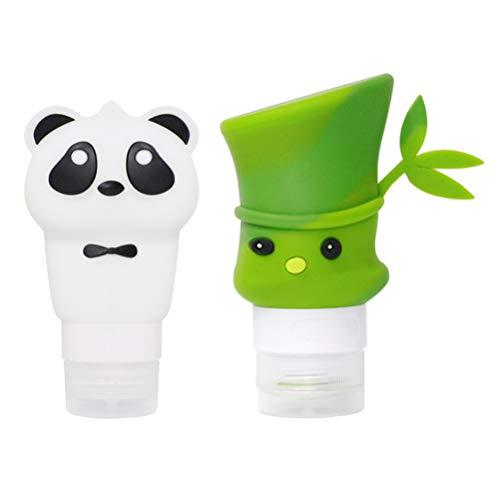 PRETYZOOM 2 Pcs Voyage Squeeze Bouteille Ensemble Dessin Animé Panda Bambou Motif Silicone Émulsion Liquide Crème Bouteilles Vide Shampooing Savon Tube pour Femmes Dames