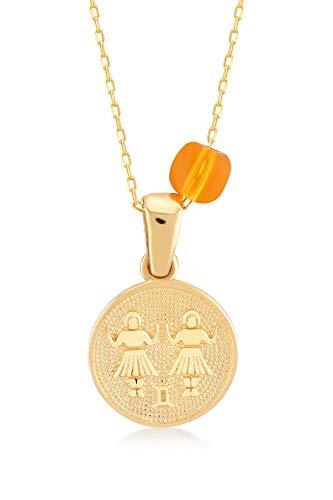 Gelin 14k geel gouden medaillon Gemini Horoscoop sterrenbeeld Astrologie tekenen ketting met kleine oranje steen hanger ketting voor vrouwen, 18
