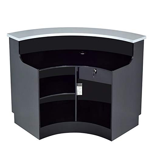 LED ILLUMINATED CURVED RECEPTION DESK RECEPTION AREA COUNTER - JANUS-BS
