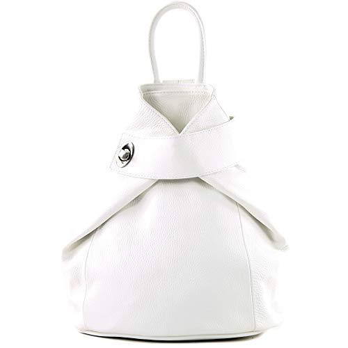 modamoda de - T179 - ital: Damen Rucksack Tasche aus Leder, Farbe:Weiß