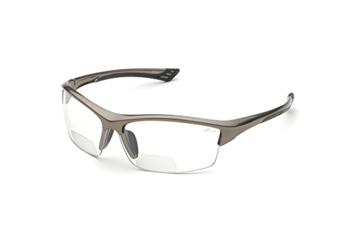 Elvex RX-350C 1.5 Diopter Bifocal Safety Glasses, Metallic Brown Frame/Clear Lens