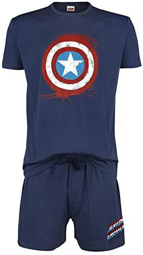 Capitán América Shield Hombre Pijama Azul Marino M, 100% algodón,